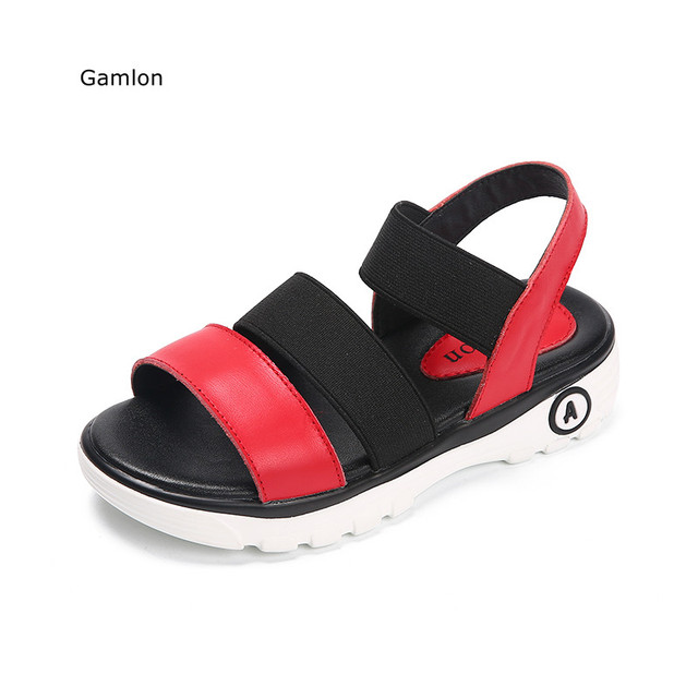 9746f45d974cc5 Gamlon Children Real Leather Girl Sandals Princess Shoes 2017 New Summer  Soft Bottom Beach Shoes Baby Sandals Girls Elastic Band