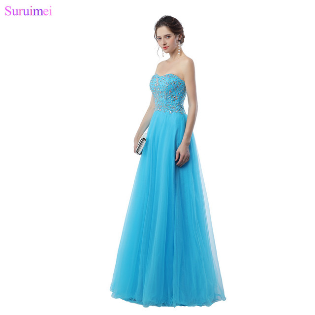Light Blue Prom Dresses Exquisite Beaded Crystals High Quality Tulle