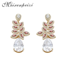 Gold Sliver Color Flower Shape Zircon Water Drop Crystal Pendant Earrings For Women Bridal Wedding Copper Jewelry