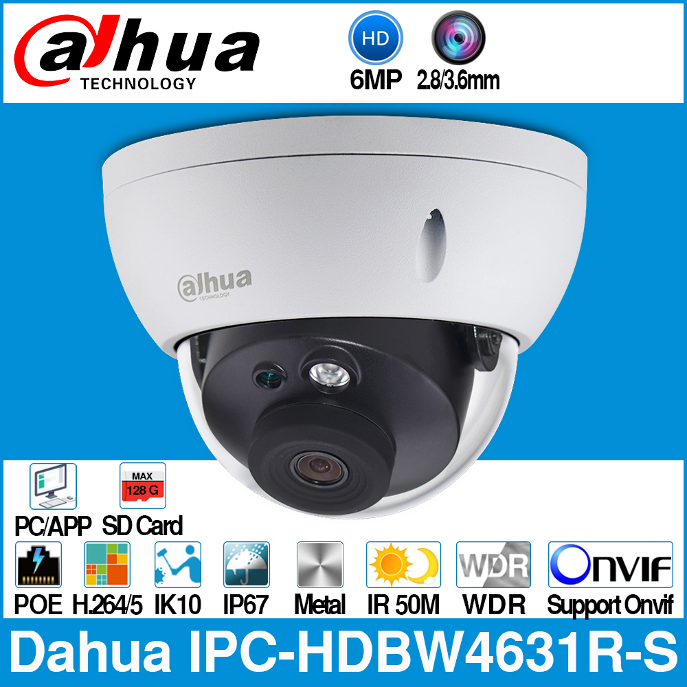 Dahua IPC-HDBW4631R-S 6MP IP Camera POE Camera CCTV Support IK10 IP67 POE SD Card Slot Upgrade From IPC-HDBW4431R-S Onvif