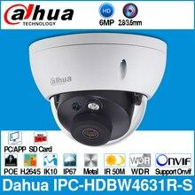 Dahua IPC HDBW4631R S 6MP caméra IP POE caméra prise en charge de la télévision en circuit fermé IK10 IP67 POE carte SD mise à niveau de la IPC HDBW4431R S Onvif