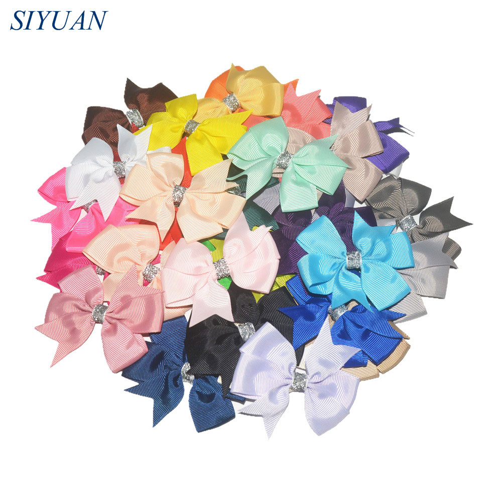 200pcs lot 3 Classic Grosgrain Ribbon Pinwheel Bows with Glitter Center Hair Accessories for Girl s