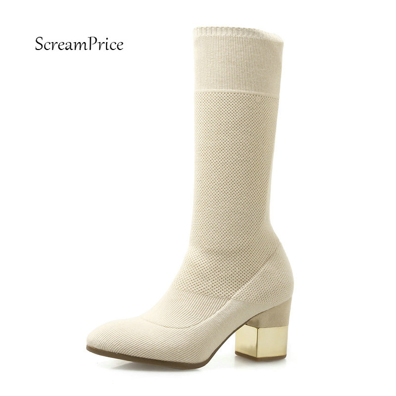 Female Knitting Comfort Square Heel Ankle Sock Boots Fashion Slip On Round Toe Women Fall Winter Bootie Black Beige female platform thick high heel ankle boots fashion slip on sock boots women comfort round toe fall winter shoes black