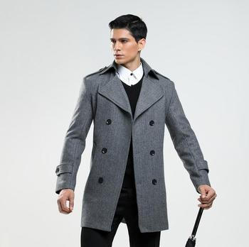 British double breasted casual woolen coat men trench coats long sleeves overcoat mens cashmere coat casaco masculino england