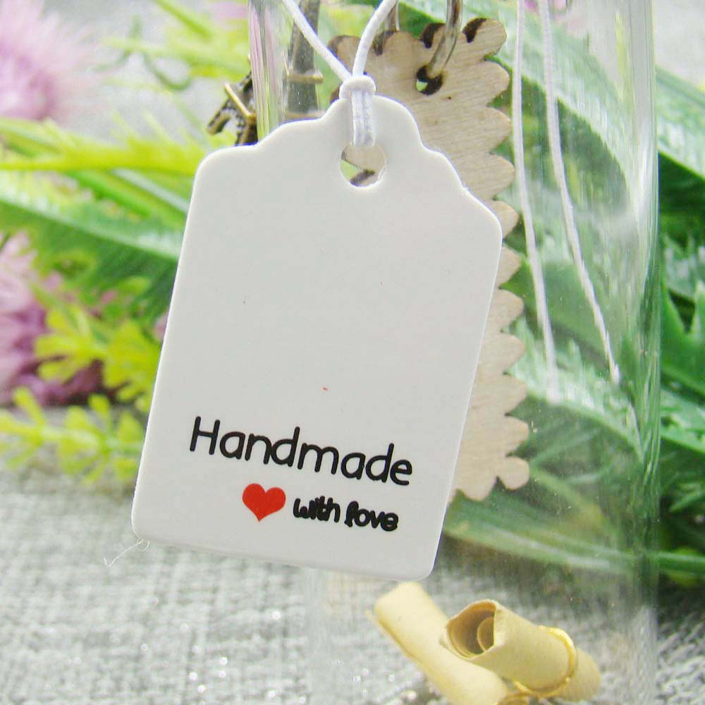 300pcs 3*2cm Scallop White Handmade With Love Taging Tags For Gift /candy Box/ Wedding /cookie/baby Show Favors Paper Label Tag