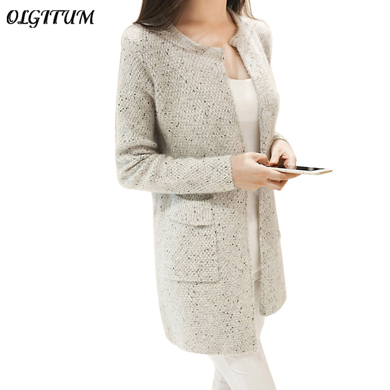 OLGOTUM 2017 New Spring Autumn Women Casual Long Sleeve Knitted Cardigans Autumn Crochet Ladies Sweaters Fashion