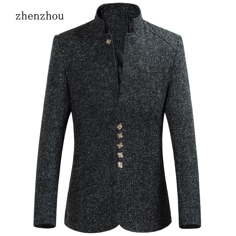 ZhenZhou Blazer Men 2017 Autumn New Style Stand Collar Male Blazer Slim Fit Mens Blazer Jacket Plus Size M 5XL 6XL High Quality