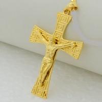 Crucifix Jesus Pendant Vintage Punk Statement Pendant Gold Plated Trendy Male Golden Cross Pendant For Mens