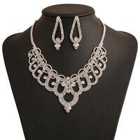 Lujo rhinestone Maxi collar establece aleación de zinc boda joyería conjunto bijoux Femme traje barato al por mayor TZ397
