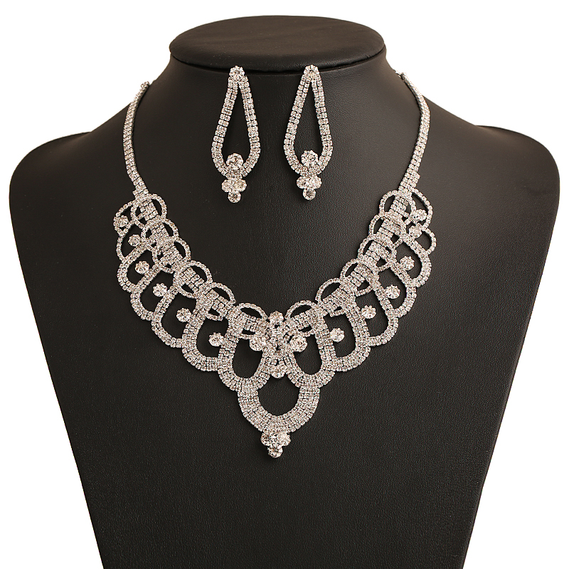 luxury rhinestone maxi necklace sets zinc alloy wedding jewellery set bijoux femme cheap costume jewelry wholesale