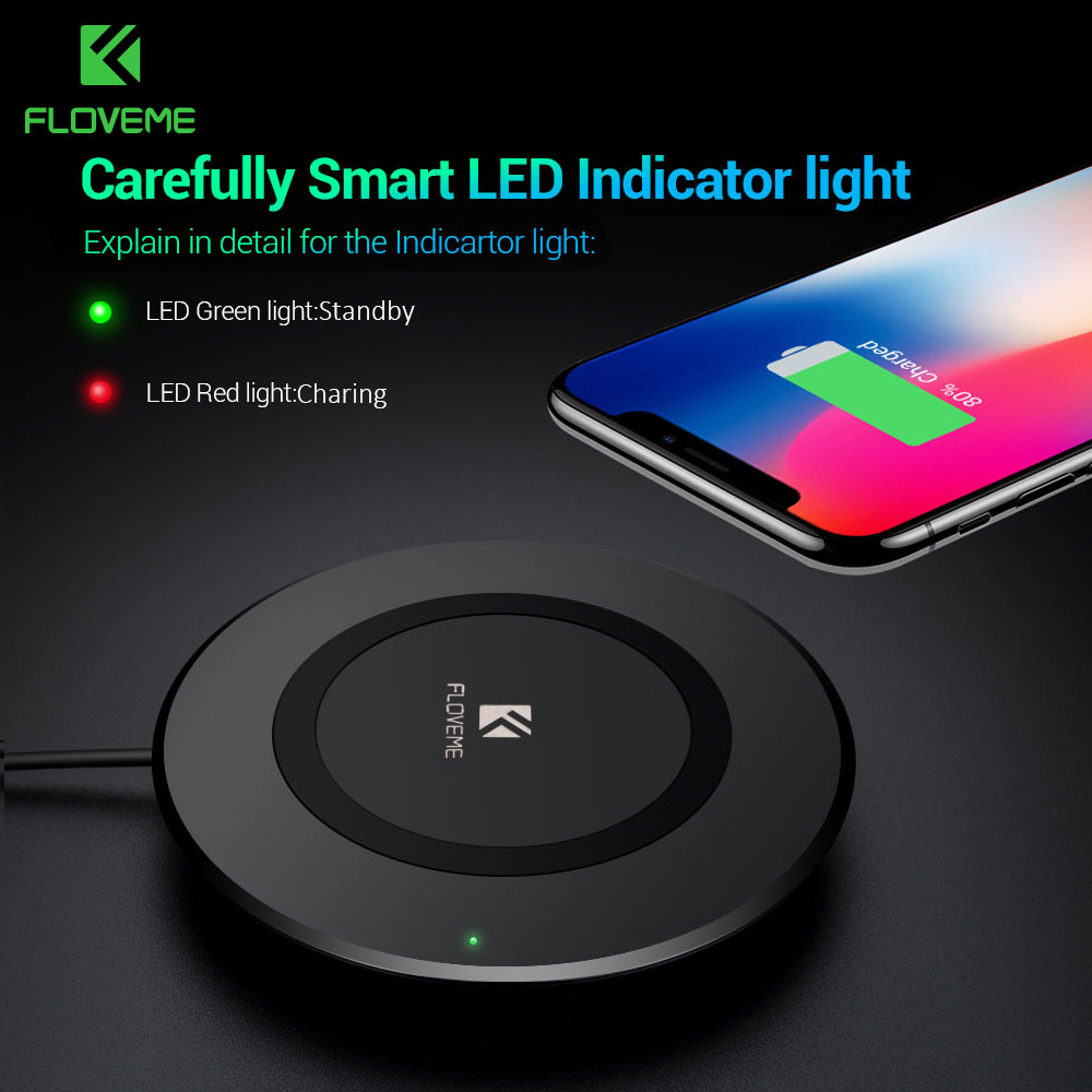 FLOVEME 5W QI Wireless Charger Pad For Samsung S8 S7 Galaxy Note8 LED Cooling Vent Design For iPhone X 10 8 Plus Charging Pad