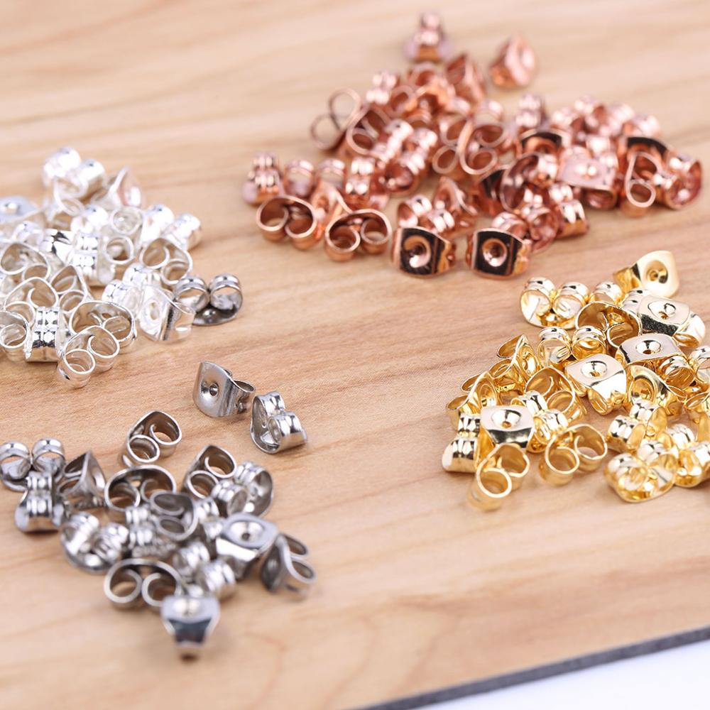 Onwear 100pcs Earring Backs Stainless Steel Rose Gold Silver Plated 4.5c6mm Diy Jewelry Making Accessories