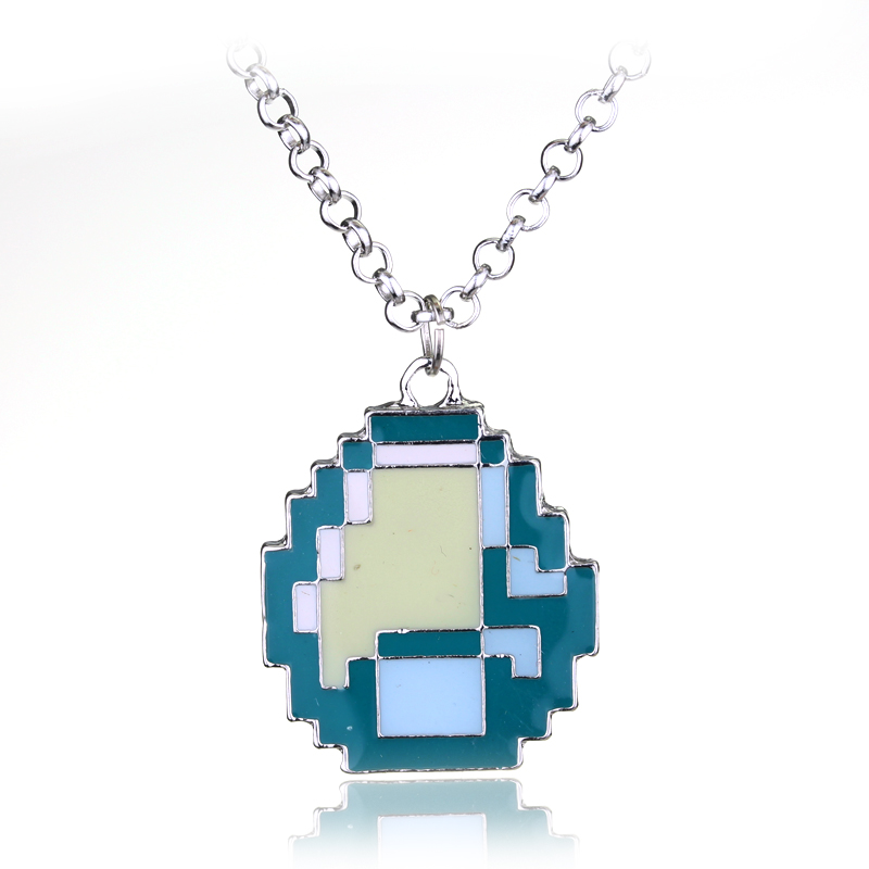 Fashion Jewelry New Boys Girls Minecraft Game My world Green Strange Coolie Face Pendant Necklace Great