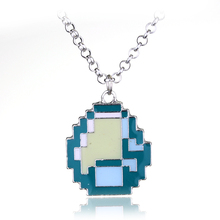 Fashion Jewelry New Boys Girls Minecraft  Game My world Green Strange Coolie Face Pendant Necklace Great Gift Wholesale Retail