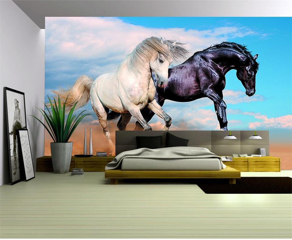 3d wallpaper custom photo mural living room black horse white horse painting TV sofa background non-woven wallpaper for walls 3d