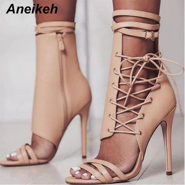 Ladies Buckle Strap Flat Lace Up Peep Toe Roman Zip Sandal Boots Shoes Black US9
