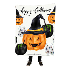 Halloween Pumpkin Printing Throw Blanket Printed Sherpa for Couch Landscape Bedding