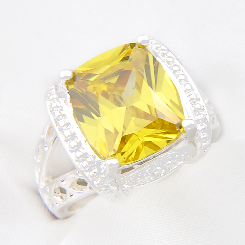 fashion new exotic special design xmas gift yellow created crystal glossy rings women jewelry free shipping - Exotic Wedding Rings