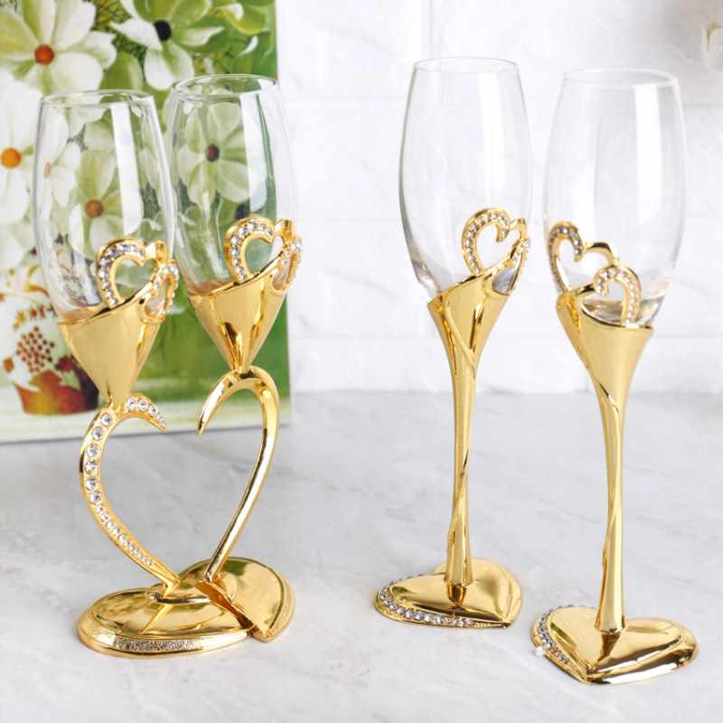 Wine Glass High Foot Crystal Glass Heart-shaped Red  Gold Silver Double Cup Gift Wedding Decoration  Lovers Cup Birthday 50JB021