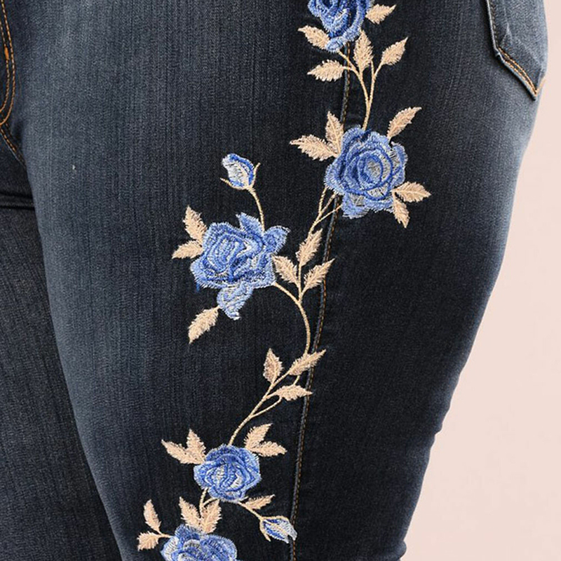 5b6ff87565e Women Blue Rose Embroidered Jeans Lady s Skinny Jeans Girl s Slim Print  Trousers High Waist Sexy Pencil Pants Plus Size-in Jeans from Women s  Clothing on ...