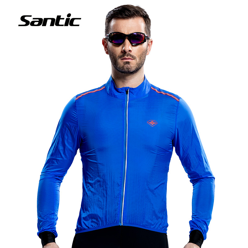 Santic Men Cycling Raincoat Windproof Sun Protection Blue Long Sleeve UPF30+ bike Jacket Waterproof Summer Bicycle Skinsuit santic men s cycling hooded jerseys rainproof waterproof bicycle bike rain coat raincoat with removable hat for outdoor riding