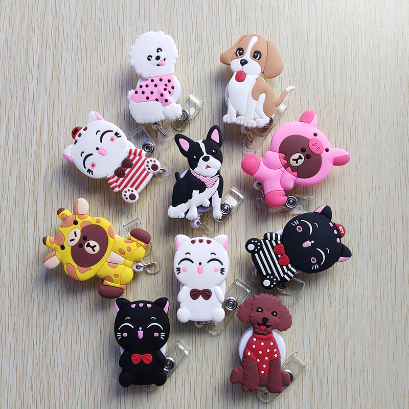 10Pcs/lot New Promotion Cool Dog Retractable Badge Reel Student Nurse Exihibiton ID Name Card Badge Holder Office Supplies