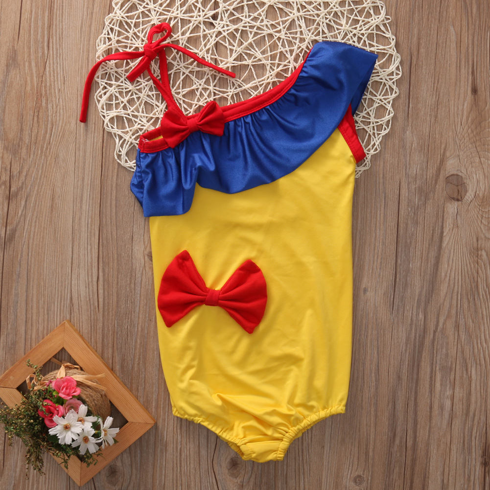 2-7Y Cute Toddler Kids Girl One-piece Swimsuit Swimwear Swimming Costume Bathing Suit Snow white new 2017