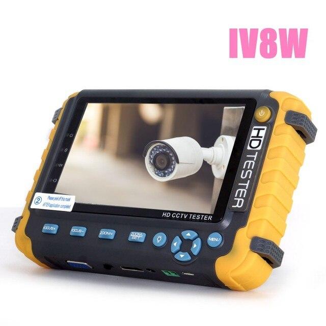 อัพเกรด HD กล้องวงจรปิด Tester IV8W IV7W 5MP 4MP AHD TVI CVI Cvbs ตรวจสอบความปลอดภัย PTZ UTP สายทดสอบ