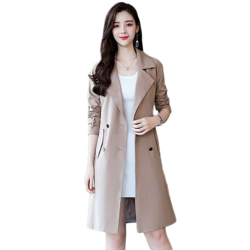 2019 Spring Autumn Korean Fashion Women Double Breasted   Trench   Coat Mujer Loose Belt Large Size Windbreaker Outwear Abrigos M171