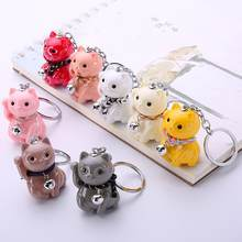 ZOOYOO Cute Lucky Cat Pendant Key Chain Pendant Handbag Hanging Decor Mini Couple Gift(China)