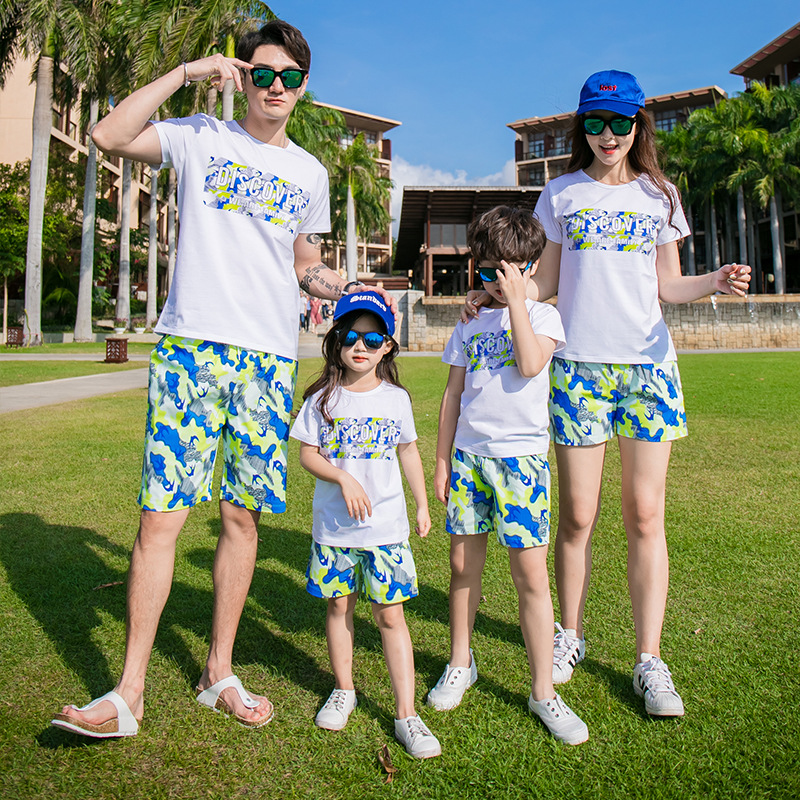 family matching outfits cotton short sleeved letter T-shirts camouflage elastic drawstring