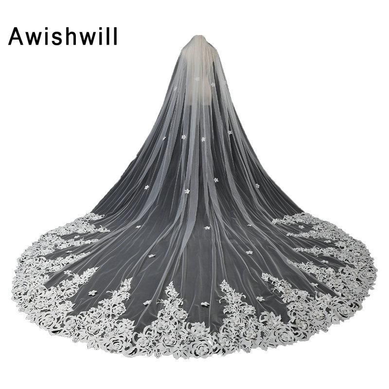 Fast Shipping Real Photo 5 Meters Cathedral Veils With Lace Edge One Layer Bridal Veils With