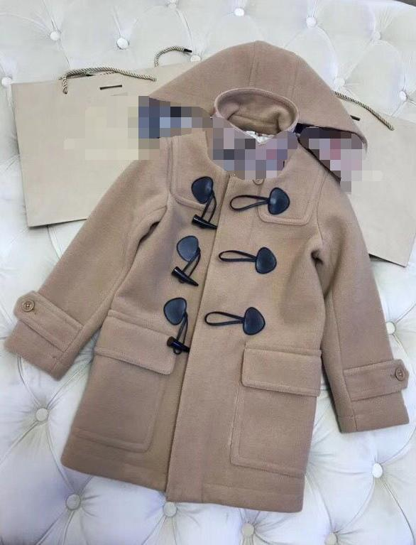 Retail Big Girls Boys 120-160cm long coat 2018 Autumn Winter Good quality Horn buckle Hooded Wool coat wu1298A8 christmas horn button hooded handkerchief coat