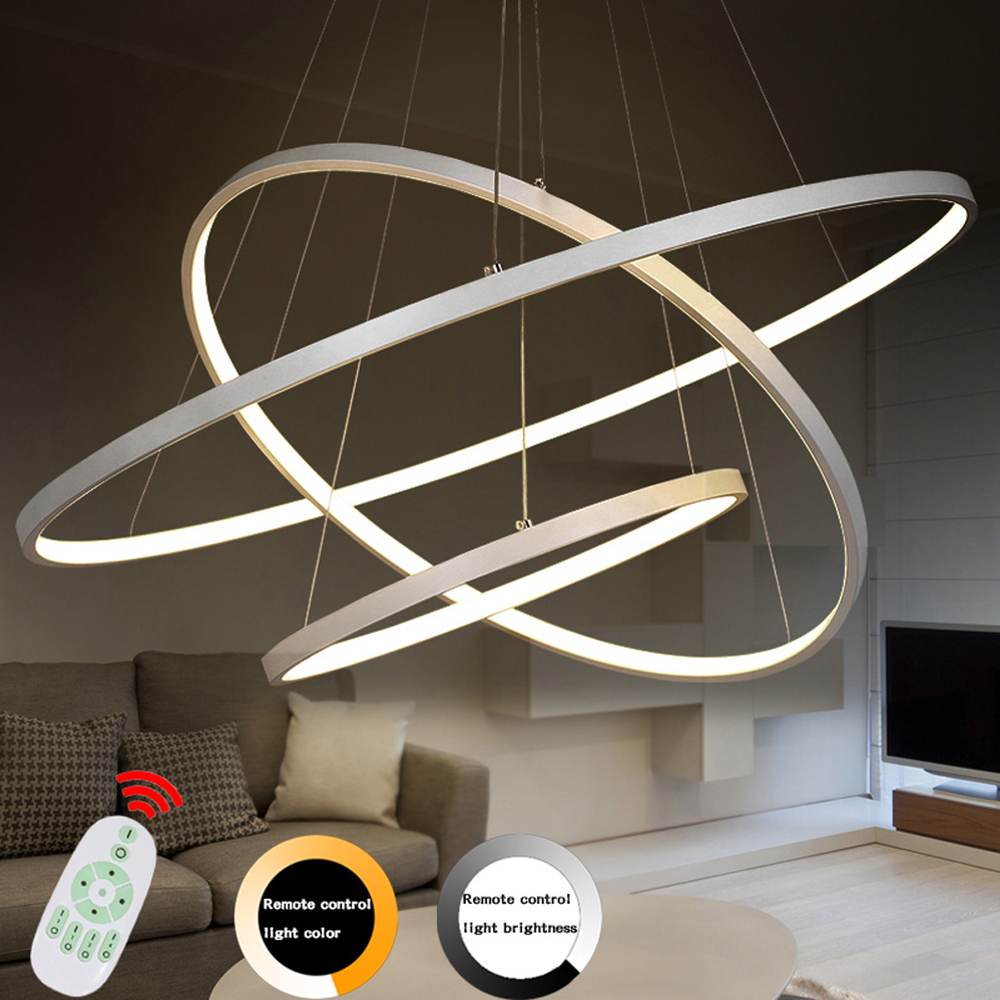 Modern Led Chandelier Ring Lustre Lighting With Remote Control Aluminum Lamps For Dinning Room Bedroom Restaurant Avize Fixtures noosion modern led ceiling lamp for bedroom room black and white color with crystal plafon techo iluminacion lustre de plafond