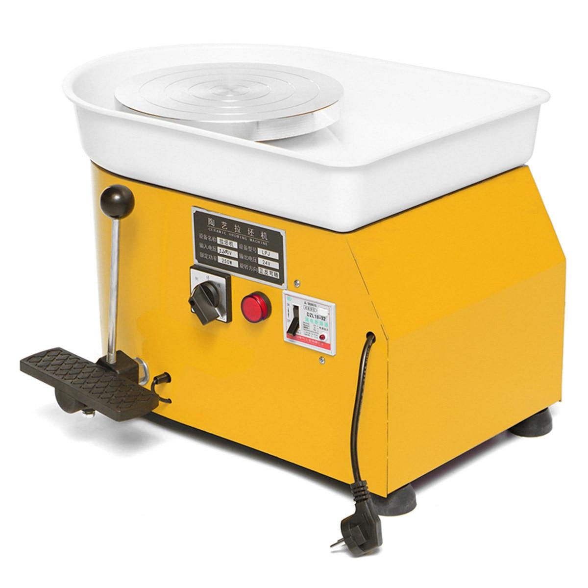 US élégant jaune électrique poterie roue Machine accessoire céramique argile outil pied pédale Art artisanat 250 W 110 V