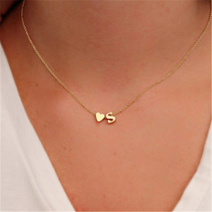 Fashion Tiny Heart Dainty Initial Personalized Letter Name Choker Necklace for Women Gold Color Pendant Jewelry Gift Accessories(China)