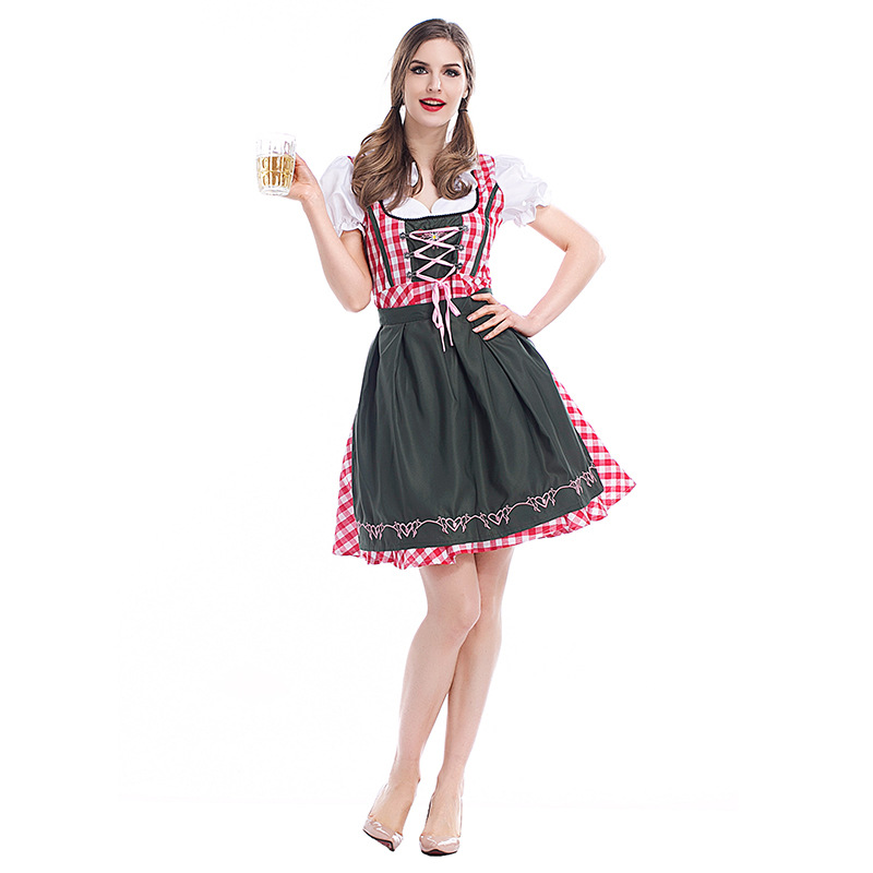 Women's Oktoberfest Sweetie Inga Long Dress Costume for Bavarian Tradition Beer Waitress Maid Costumes Plus size S -3XL