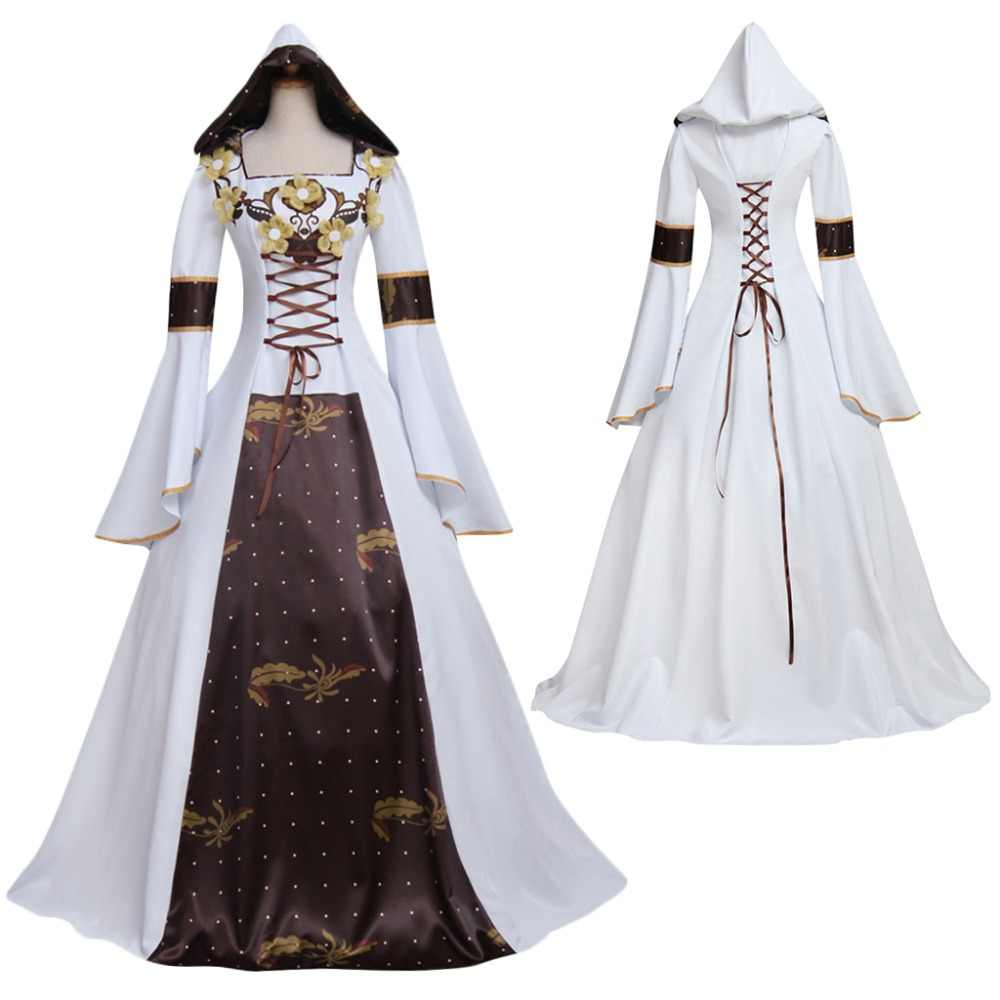 Medieval Vintage Victorian Luxury Dress Medieval Vampire Dress with Hoodie  White Wedding Dress For Party 9d124029d4af