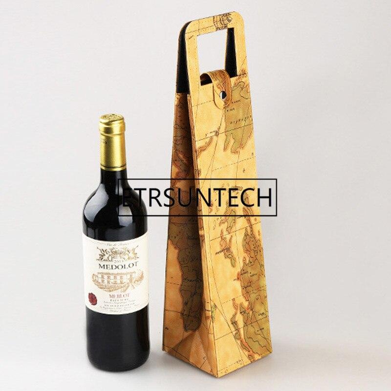 Levendig 100 Stks/partij Luxe Draagbare Pu Lederen Wijn Zakken Rode Wijn Fles Verpakking Case Gift Opslag Dozen Met Handvat Bar Accessoires Voor Een Soepele Overdracht