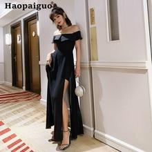 S-XXL Plus Size Evening Party Dress Women Slash Neck Big Swing Wrap Bodycon Long Korean Black Sexy Dresses Ladies