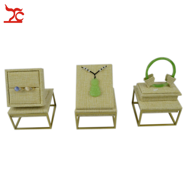 Fine 304 Stainless Steel Beige Linen Bangle Pendant  Ring Display Holder Stand Necklace Displays For Jewelry Sets 9*9*5CM