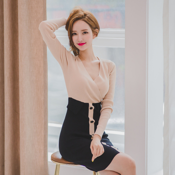 women's clothing new fashion patchwork button dress long sleeve 1