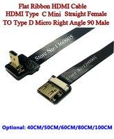 40/50/60/80/100 CM 울트라 씬 HDMI 케이블 유형 C 미니 스트레이트 암 유형 D 마이크로 직각 90도 플랫 리본 케이블