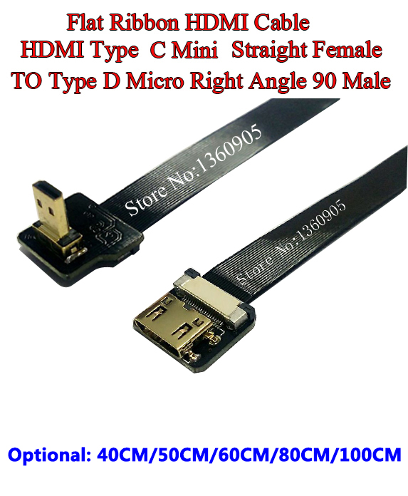 40/50/60/80/100CM Ultra Thin HDMI Cable Type C Mini Straight Female To Male Type D Micro Right Angle 90 Degree Flat Ribbon Cable