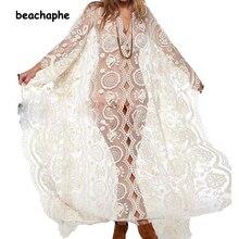 2016 Women see-through dress Hippie Boho Sexy Deep V Neck Lace Beach Wear long dress White Maxi Dress Vestidos