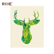RIHE Green Dear Diy Painting By Numbers Leaves Oil On Canvas Animal Hand Painted Cuadros Decoracion Acrylic Paint