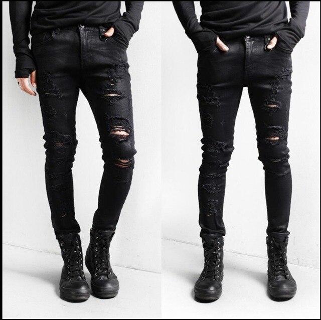 6fa07c628b160 Printemps nouveaux hommes discothèque Slim mode décontracté noir jeans trou  jeans crayon pantalon mendiants