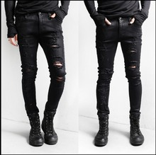 HOT ! Spring new Men nightclub Slim fashion casual black jeans hole jeans pencil pants beggars clothing singer costumes trousers