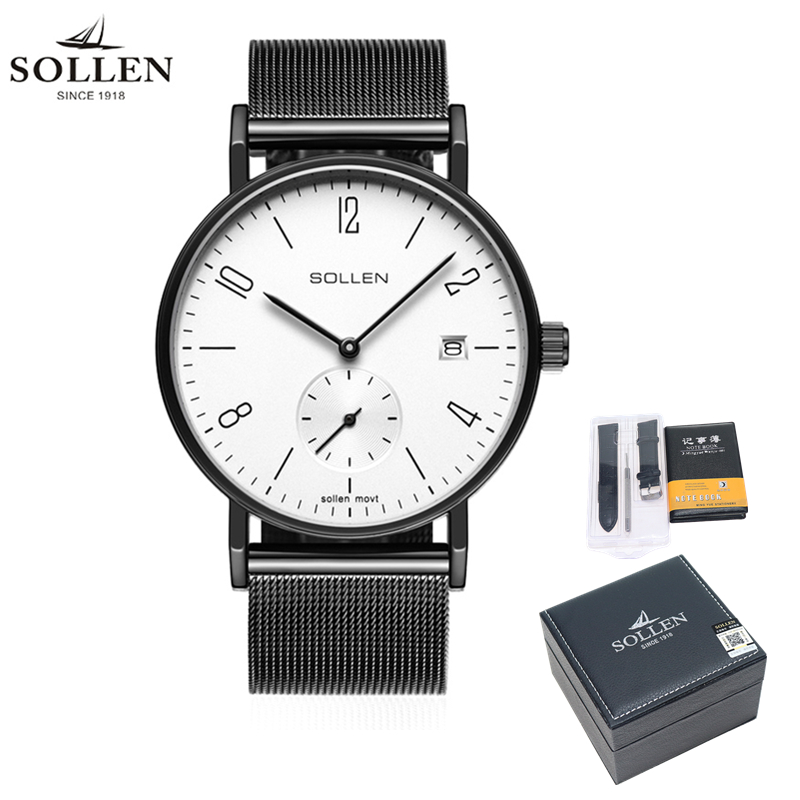 Men Watch SOLLEN Brand Relogio Masculino Business Watches for Men Ultra Slim Style JAPAN Movement Watch Male Wristwatches 9045