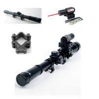 4x20 Hunting Air Gun Optics Scope Riflescope Telescope + Red Laser Sight + 20mm Mount For 22 Caliber Rifles Airsoft Guns Weapon